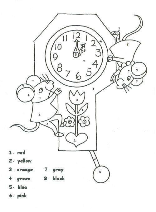 Clock Color Number Worksheet | Homeschool | Pinterest 30 Day Retirement Countdown Coloring Calendar