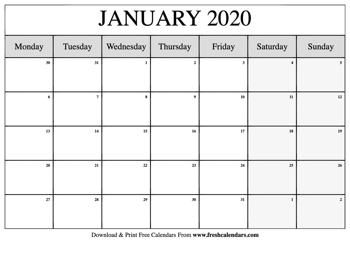 Collect Large Printable January 2020 Calendar Fill In Large Fill In Calendar