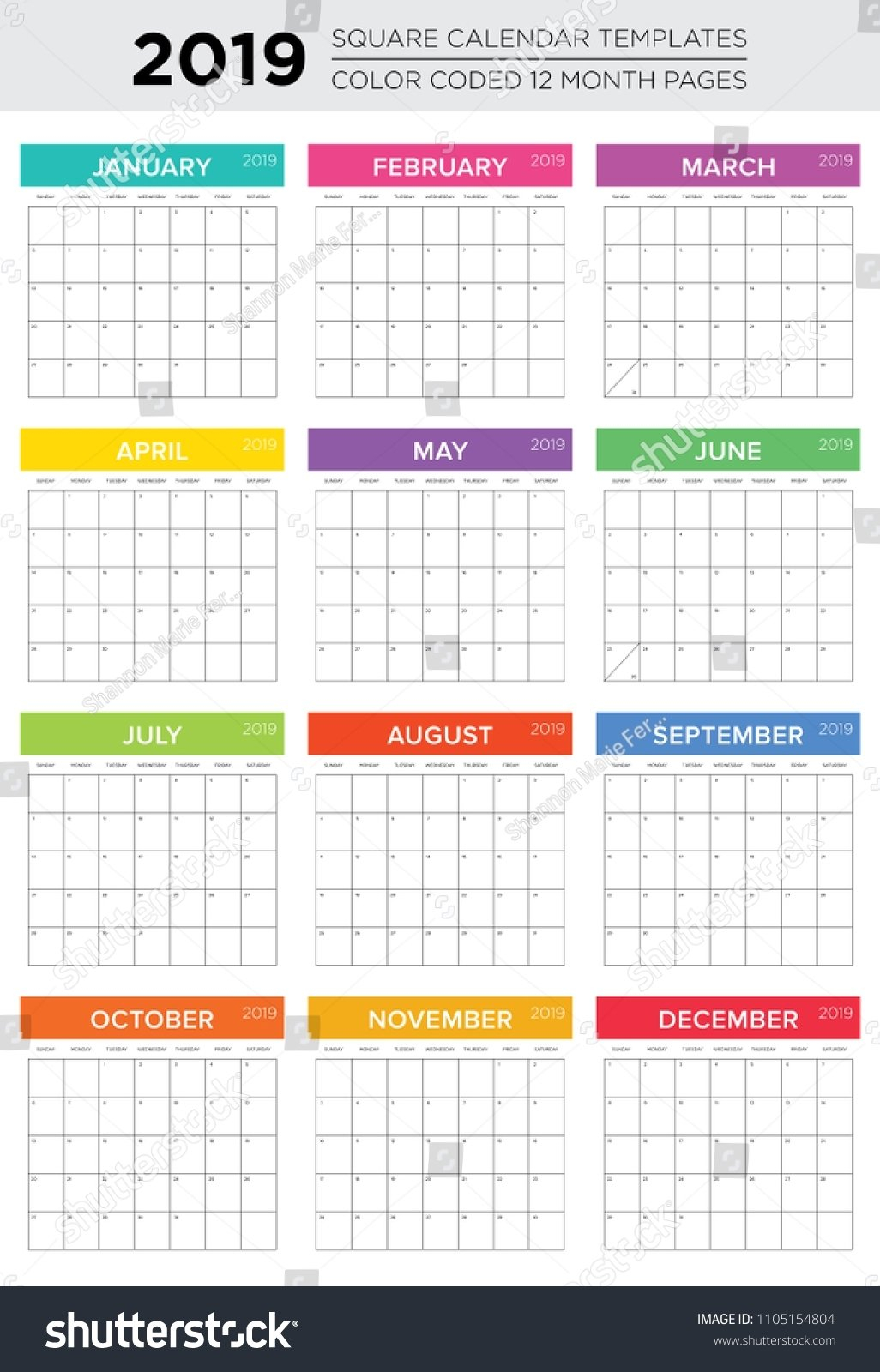 Color Coded Calendar Months | Calendar Template 2020 Color Coded Schedule Template