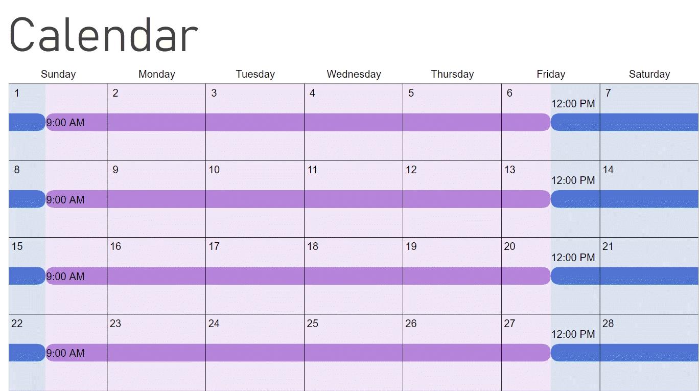Color Coded Schedule Template   Calendar Template 2020 Color Coded Schedule Template