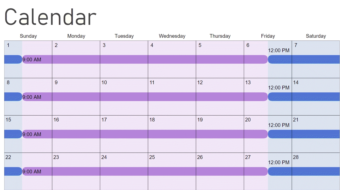 Color Coded Schedule Template | Calendar Template 2020 Printable Calendar That You Can Fill In Color In The Blocks