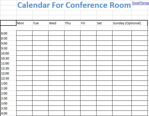 Conference Room Scheduling Template Excel - Microsoft Reservation Calendar Template Excel