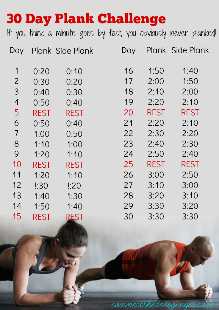 Connect The Dots Ginger | Becky Allen: January 30 Day Printable 30 Day Plank Challenge