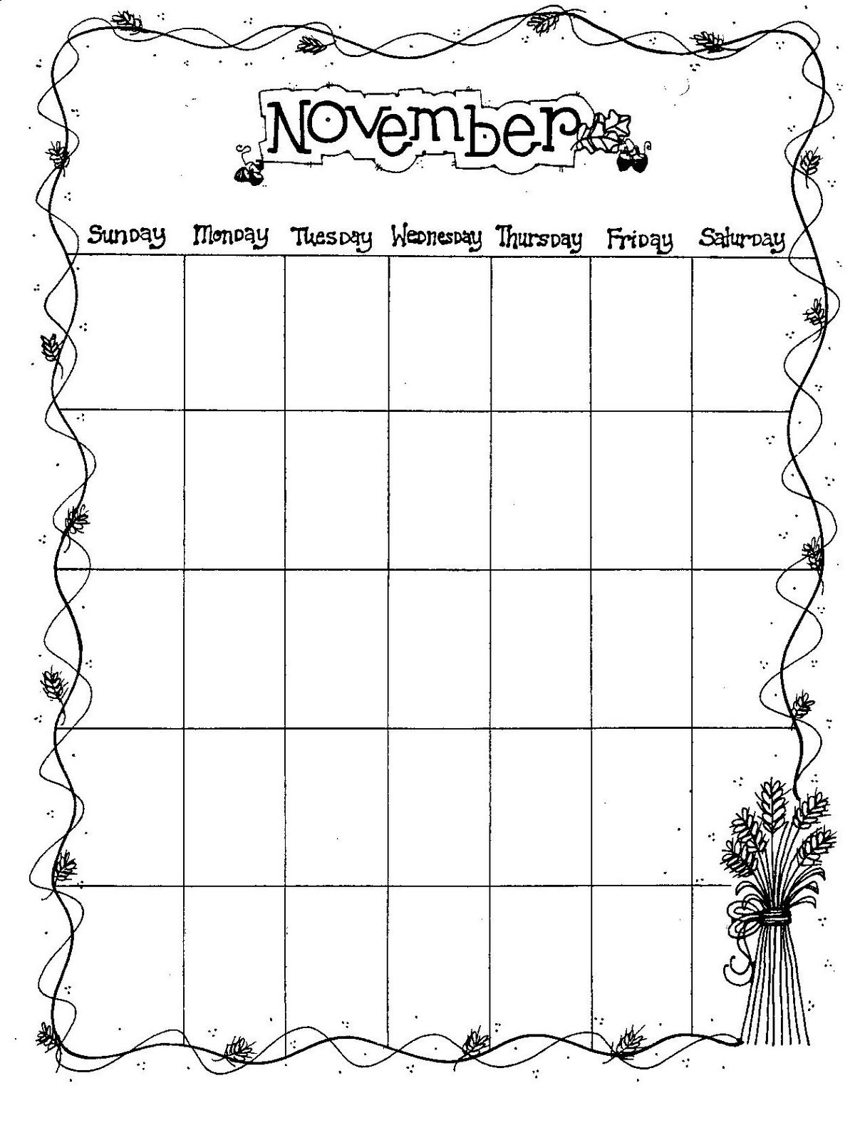 Connie'S File Cabinet: Monthly Blank Calendar Pages For A Year Blank Monthly Calendar Page Without The Year