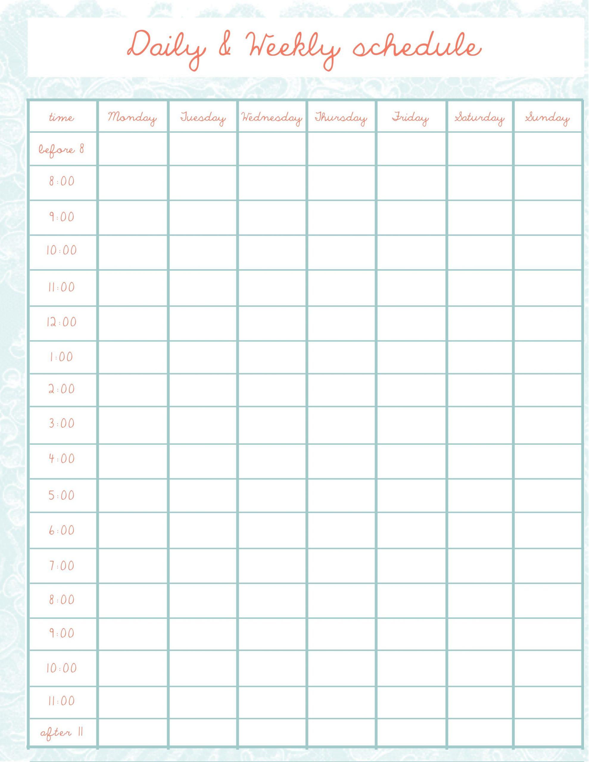 Creative Balorina . Com | Horario Semanal, Planificador Sample 2 Week Calendar