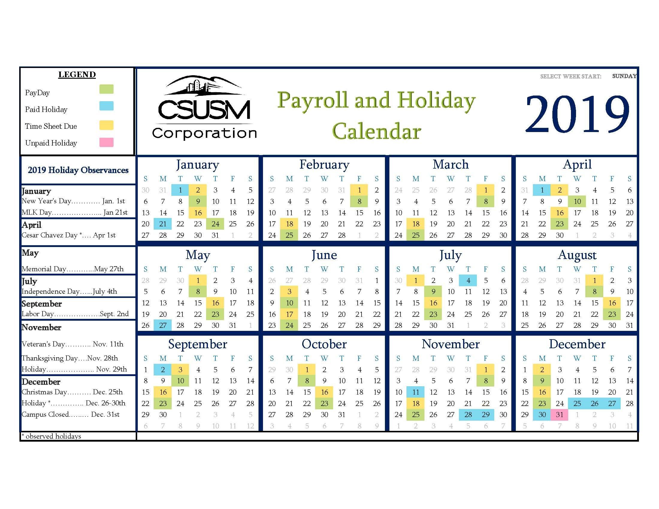 Csusm Corporation Human Resources & Payroll Services Human Resource Vacation Calendars