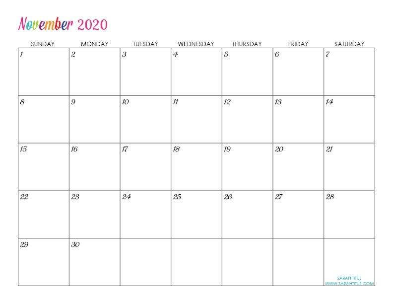 Custom Editable 2020 Free Printable Calendars - Sarah Titus Free Calendars To Download And Edit
