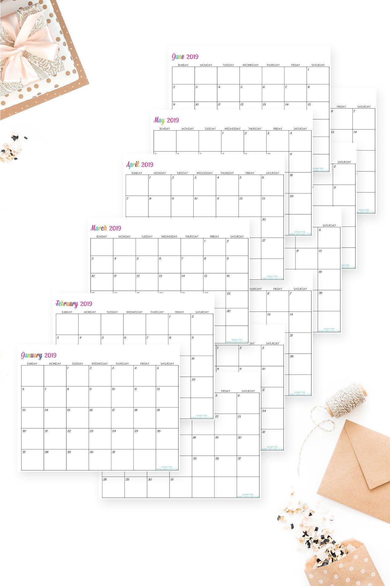 Custom Editable Free Printable 2019 Calendars - Sarah Titus Free Calendars That I Can Edit And Print