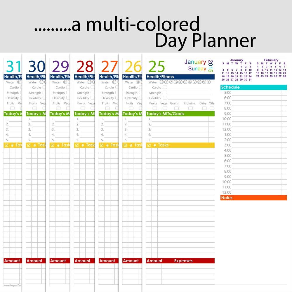 "Daily Printable Planner - 5 1/2"" X 8 1/2"" | Legacy Templates 8.5 X 5.5 Calendar Printable"