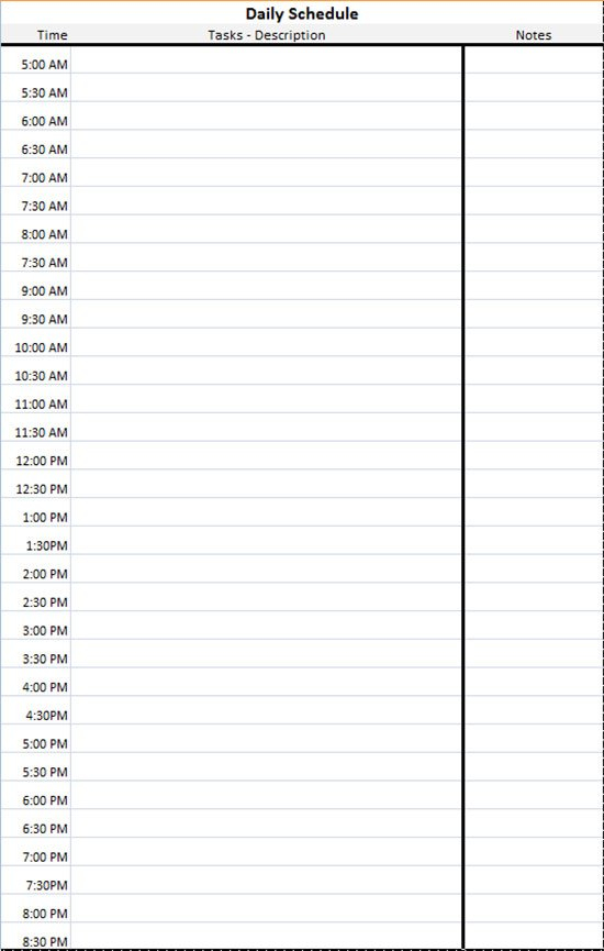Daily Schedule Template - Microsoft Excel Spreadsheet For Freee Printable Hr By Hr Schedule