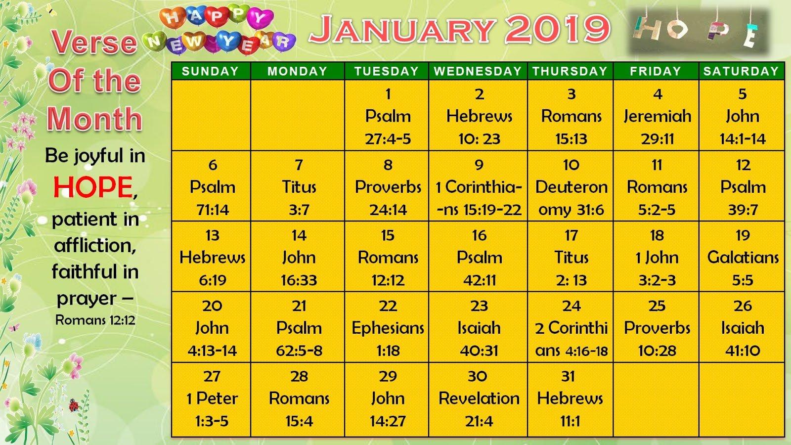 Daily Verses Calendar - January 2019 - Printable Version Daily Scripure Prayer Calendar