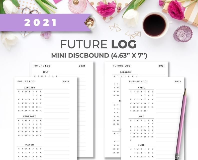 Dated 2021 Minimal Printable Future Log Calendar Inserts Free Printable Hp Calender