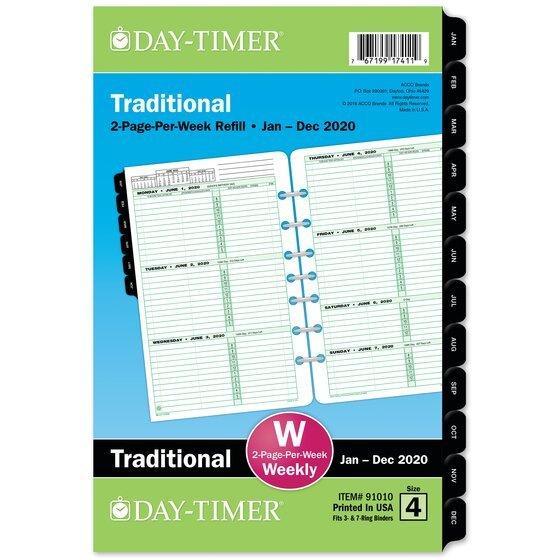 Day-Timer Two Page Per Week Original Planner Refills, 5 1 5 1/2 By 8 1/2 Weekly Calendar Printable