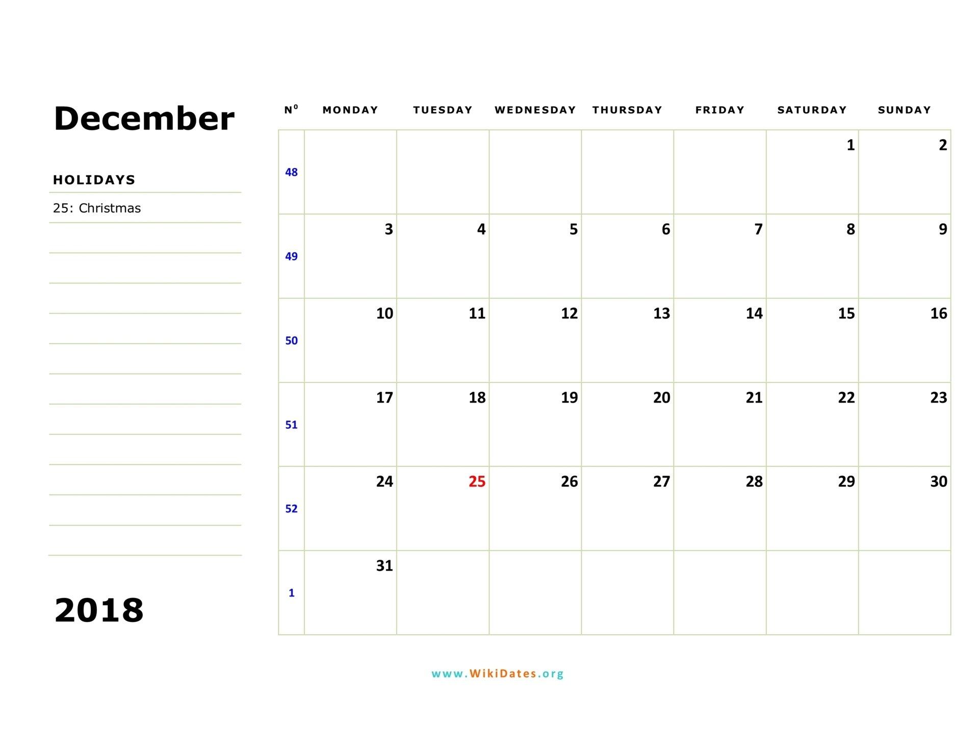 December 2018 Calendar | Wikidates Weekly Numbered 52 Week Calendar Printable