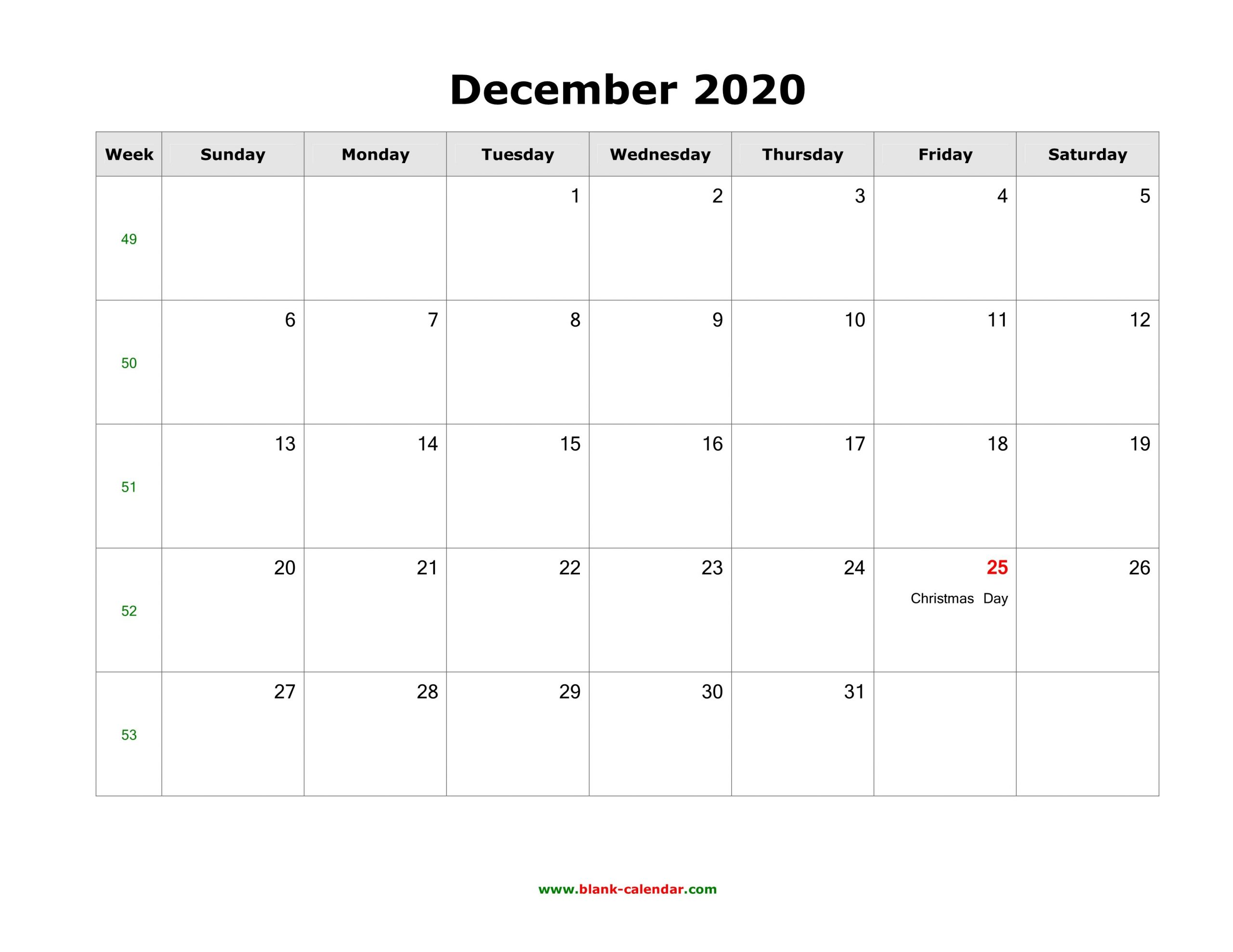 December 2020 Printable Calendar - Free Templates (Pdf, Word) Printable 2020 Calendar Free Saturday To Friday