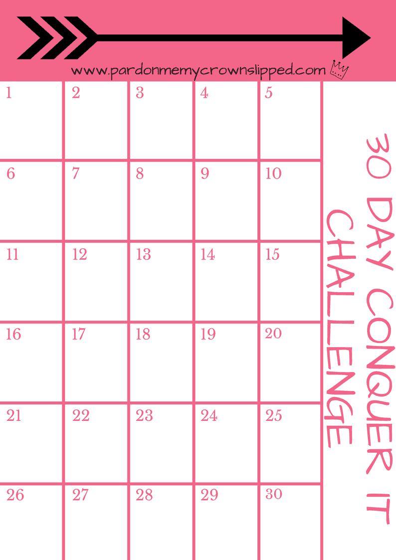 Diy 30-Day Challenge Printable • Pardon Me, My Crown Slipped Printable 30-Day Plank Challenge