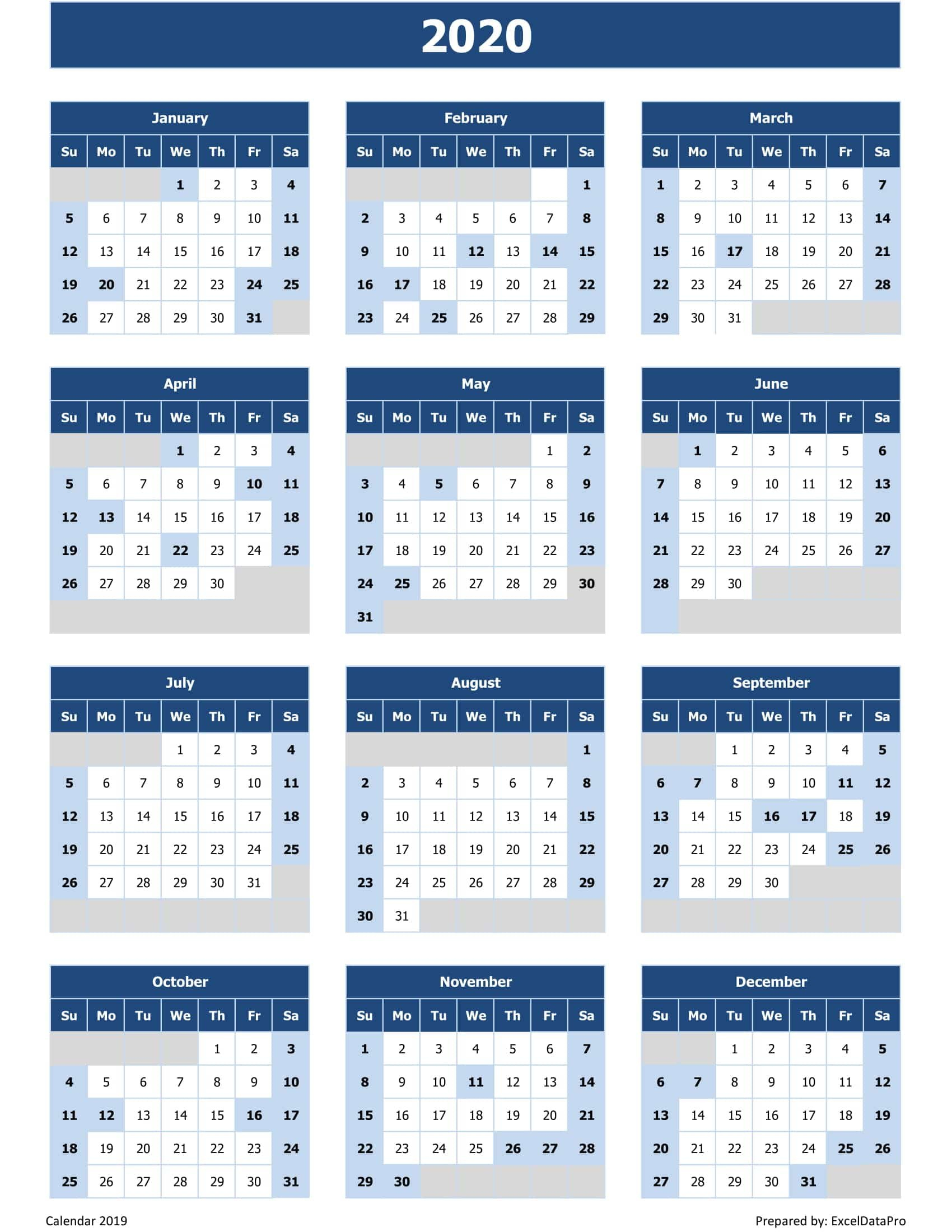 Download 2020 Yearly Calendar (Sun Start) Excel Template Free Weekly Calendar Fillable With Times Starting At 6Am