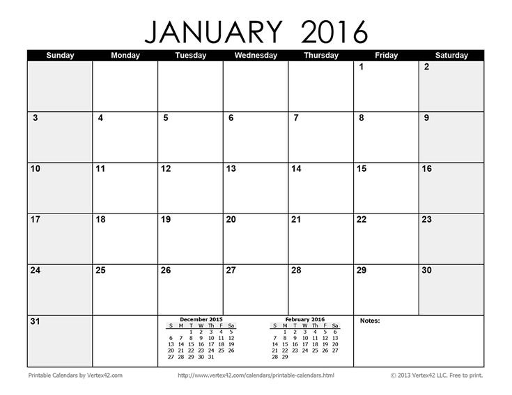 Download A Free Printable Monthly 2016 Calendar From Printable 2016 Calendar With Notes