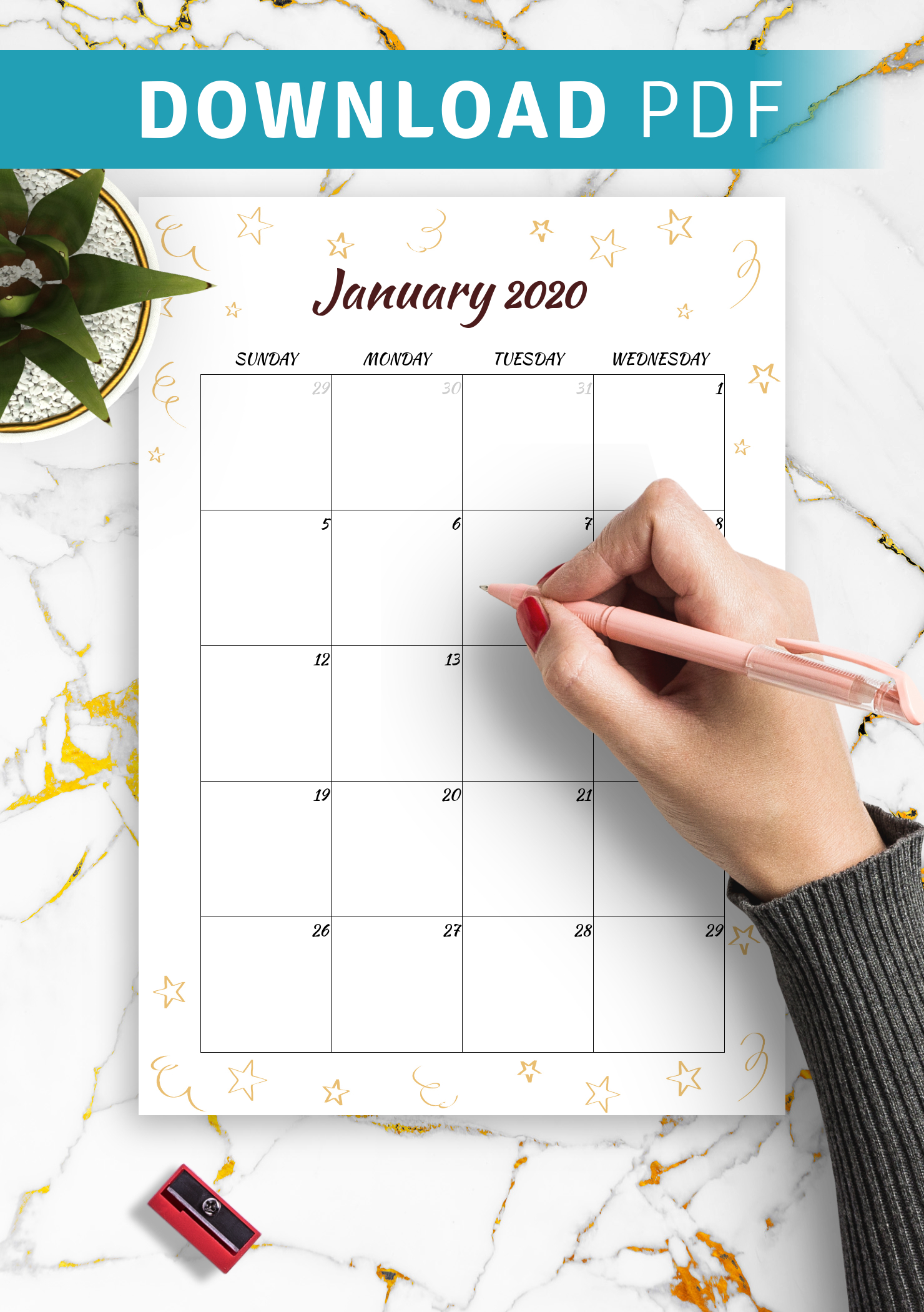 Download Printable Gold Stars Monthly Birthday Calendar Pdf Free Editable Birthday Calendar