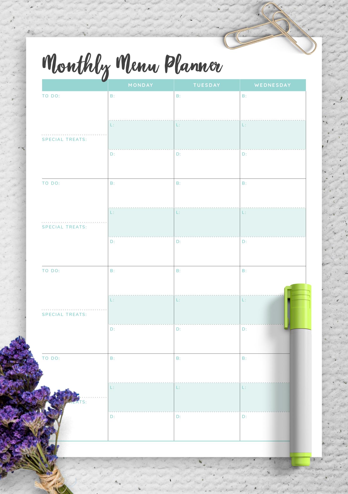 Download Printable Monthly Menu Planner Pdf Monday Thru Sunday Menu Template