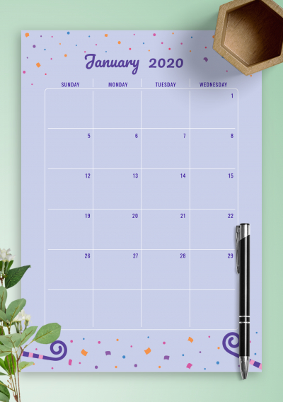 Download Printable Two Page Monthly Birthday Calendar Pdf Free Editable Birthday Calendar