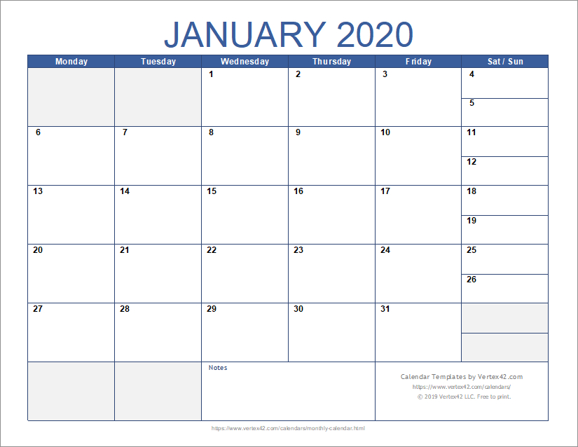 Download The Monthly Calendar With Combined Weekend From 5 Day Monthly Calendar Template Word
