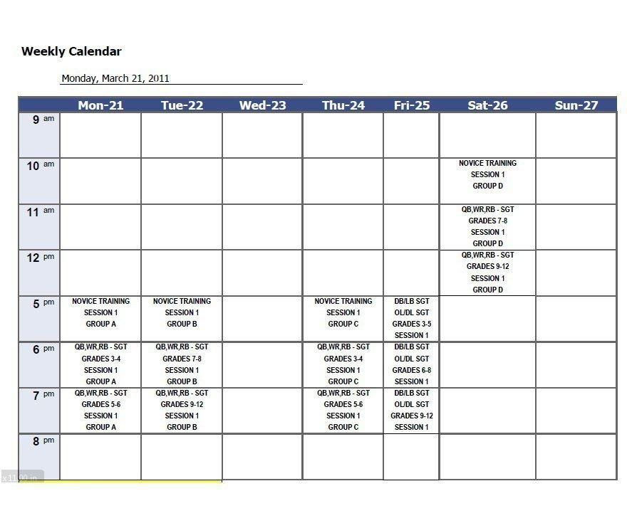 Download Weekly Calendar Template 21 | Weekly Calendar Four Week Weekly Calendar Printable