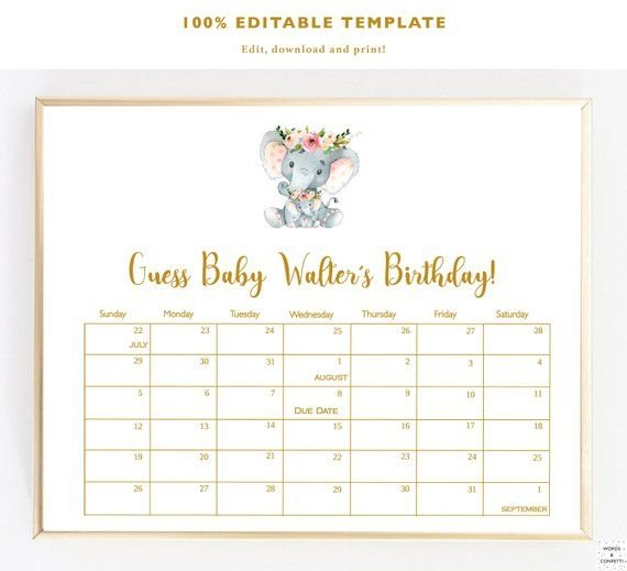 Due Date Calendar Elephant, Guess Baby Birthday Calendar Guess Baby'S Birth Date