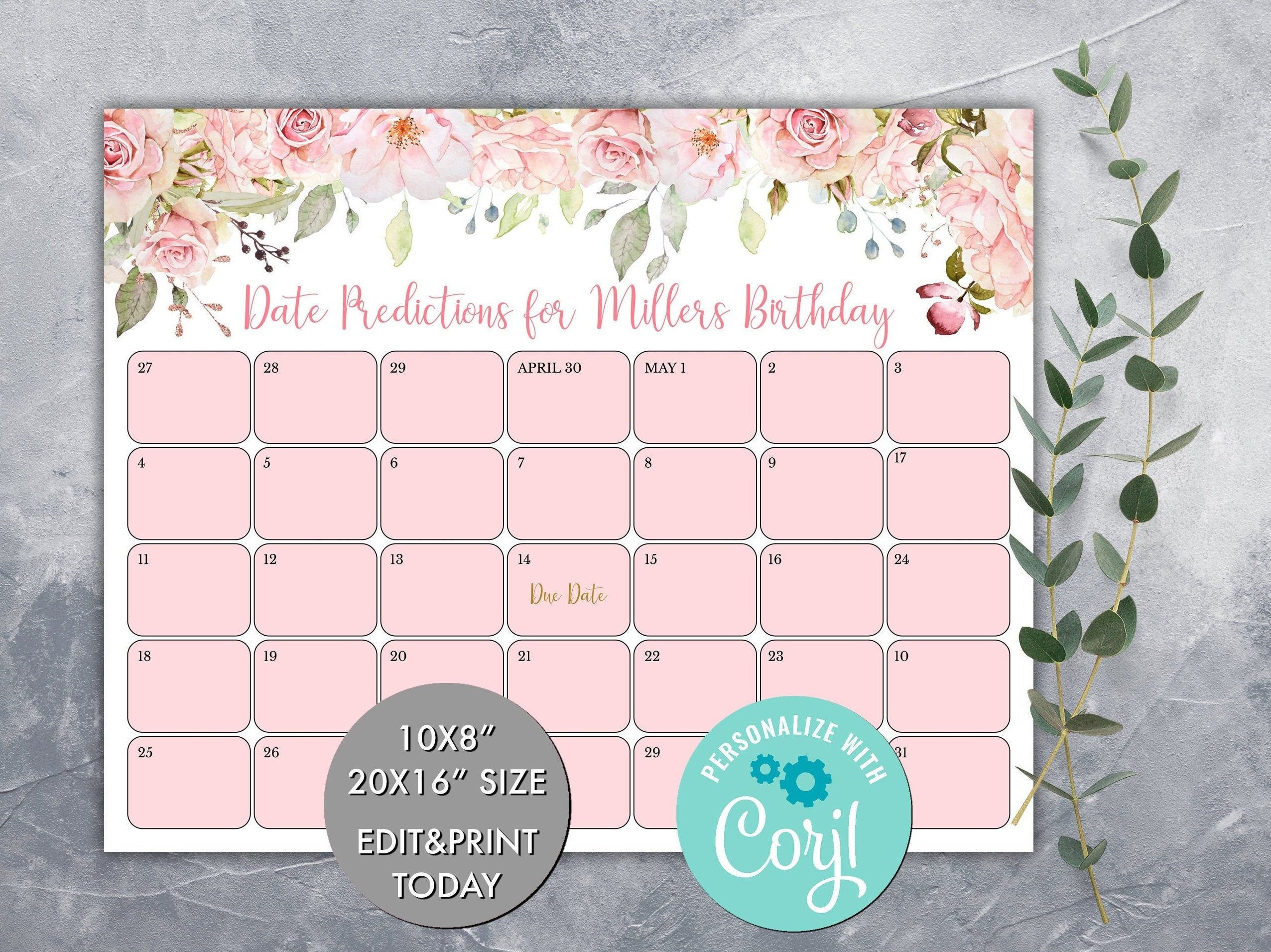 Editable Guess Baby'S Due Date Calendar Game, Pink Floral Baby Calendar Free Guess