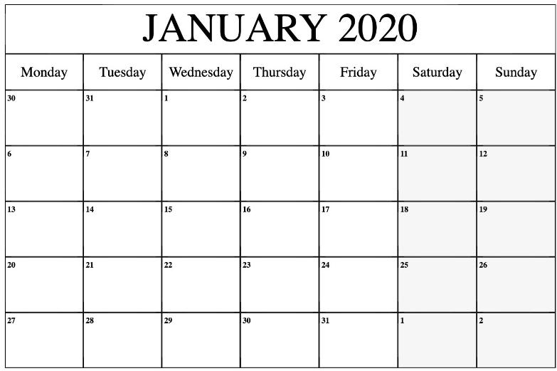 Editable January 2020 Calendar Template   Printable Free Calendars To Download And Edit