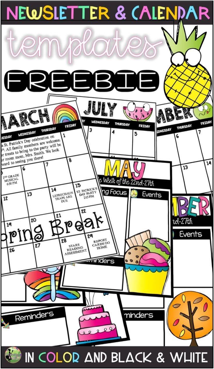 Editable Monthly Calendar & Weekly Newsletter Templates Free Editable Preschool Calendar Template
