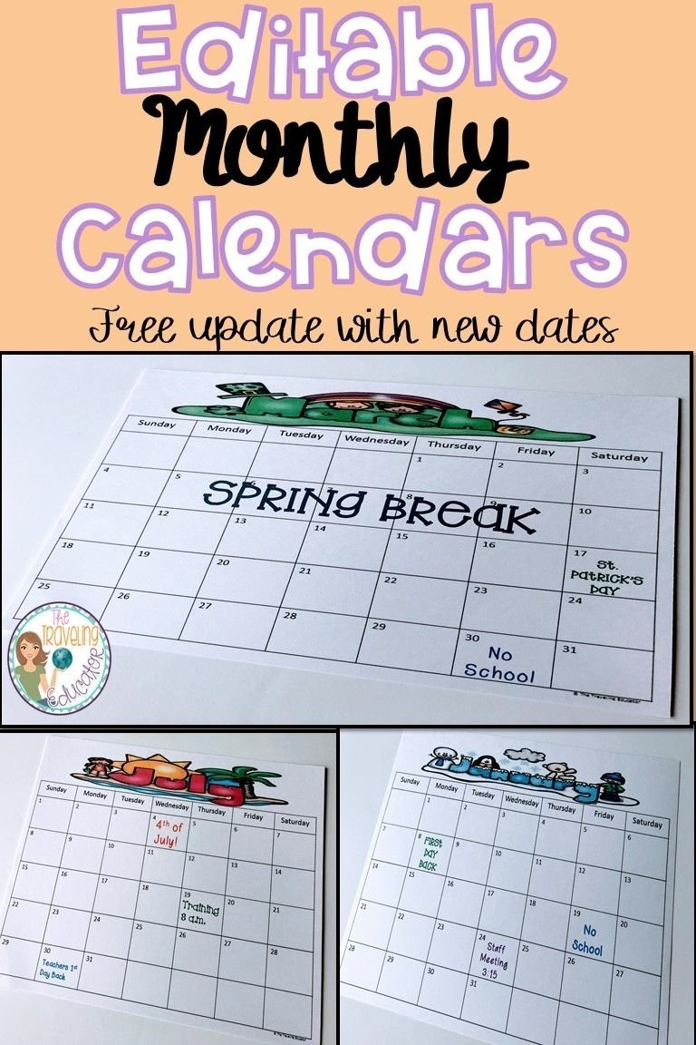 Editable School Calender For Teachers | Calendar Template 2021 Free Calendar Templates For Teachers