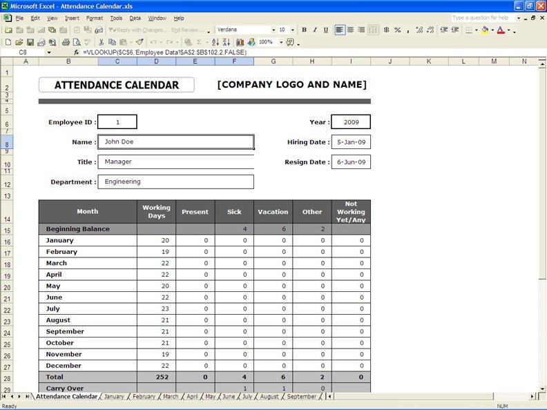 Employee Attendance Calendar » Exceltemplate Hr Company Annual Calendar Template