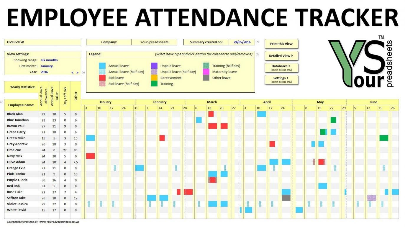 Employee Attendance Tracker Excel Template   Shatterlion Time Off Calender Template
