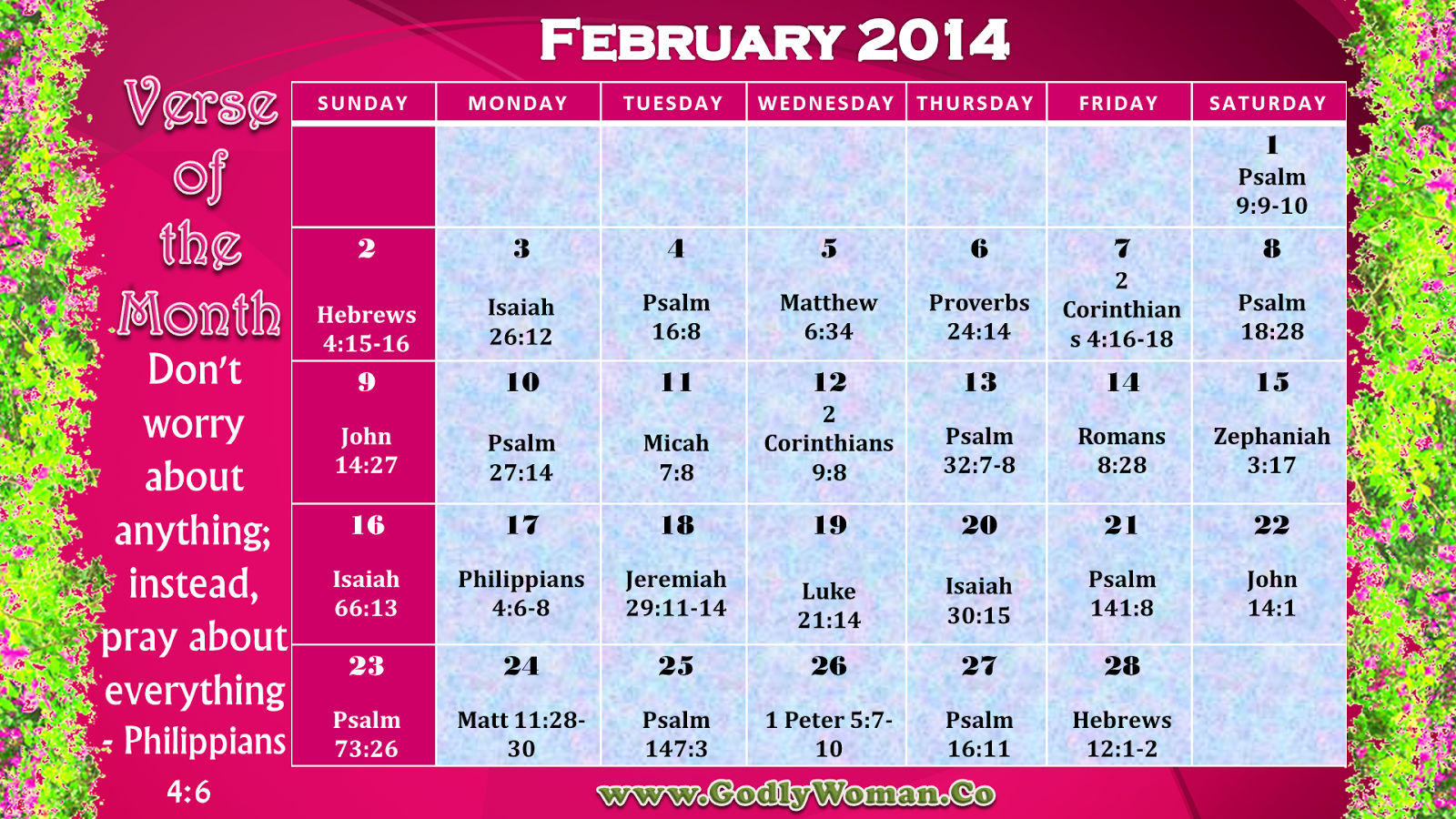 February 2014 Verse Of The Day Calender - Verseverse Daily Scripure Prayer Calendar