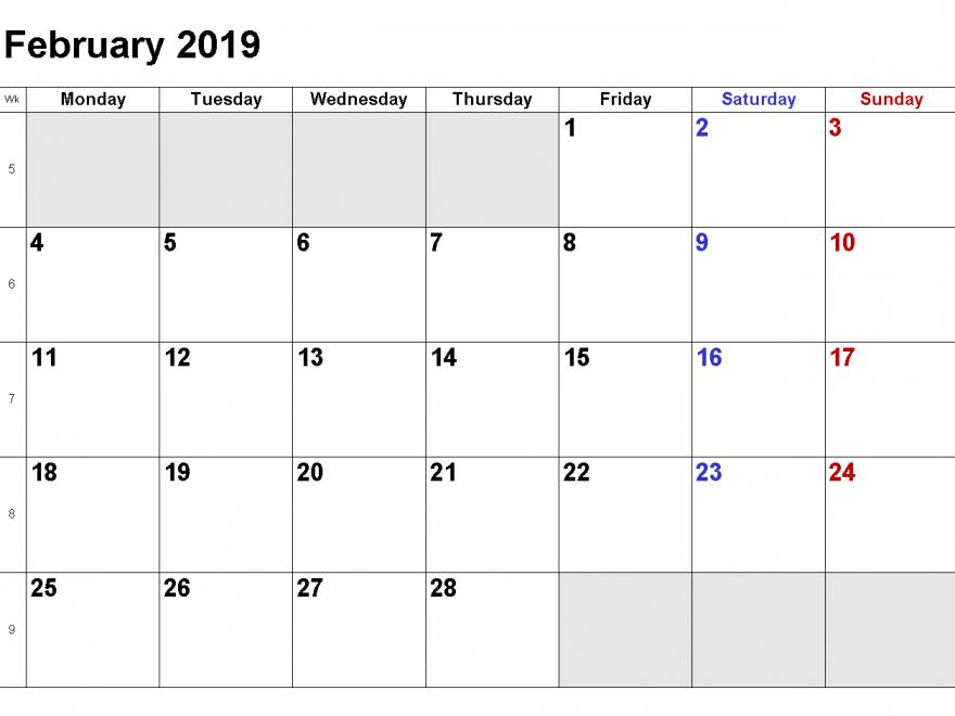 February 2019 Federal Holidays Calendar | Free Printable Saturday To Friday Calendar Template