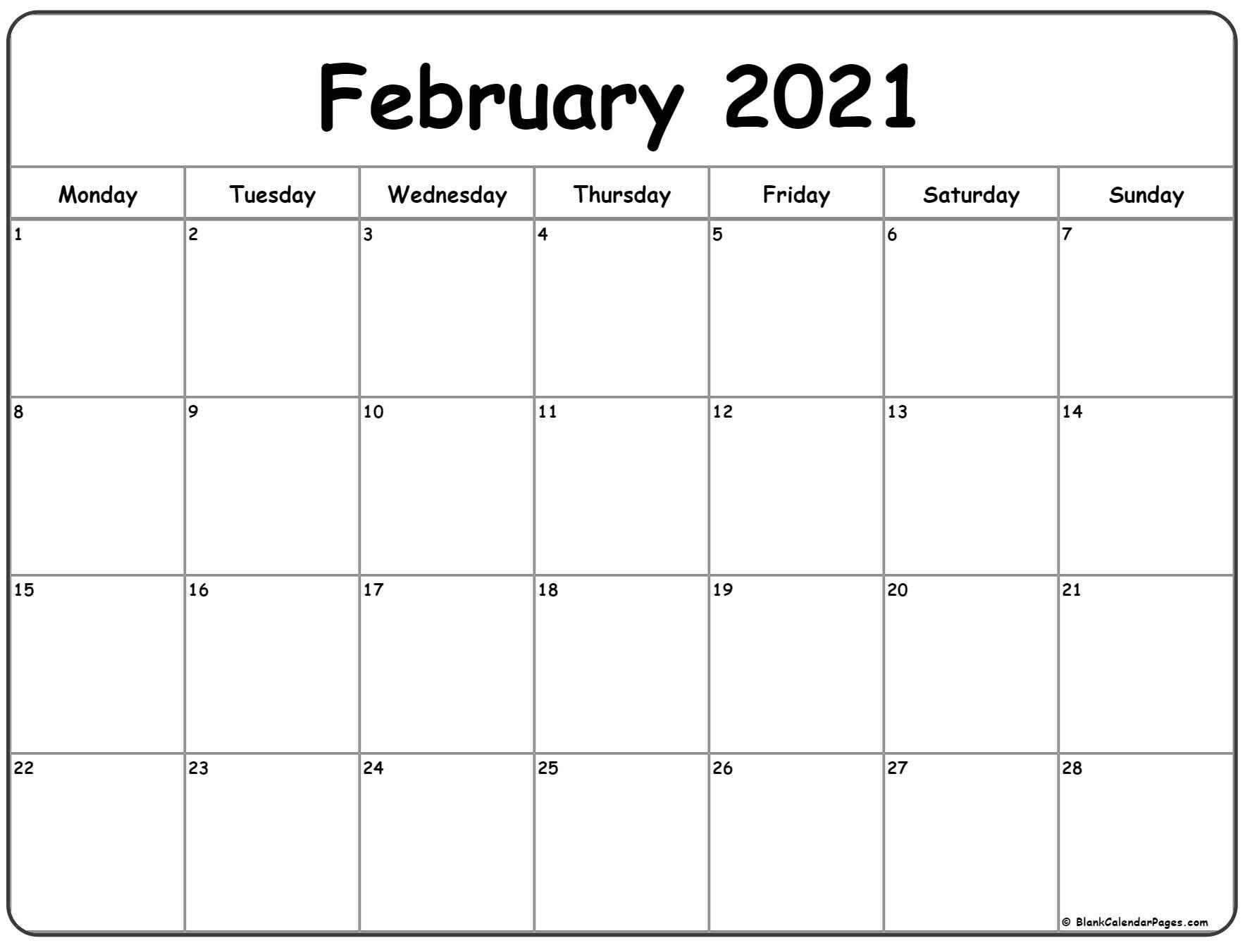February 2021 Monday Calendar   Monday To Sunday One Week Monday Through Saturday Communication Calendar