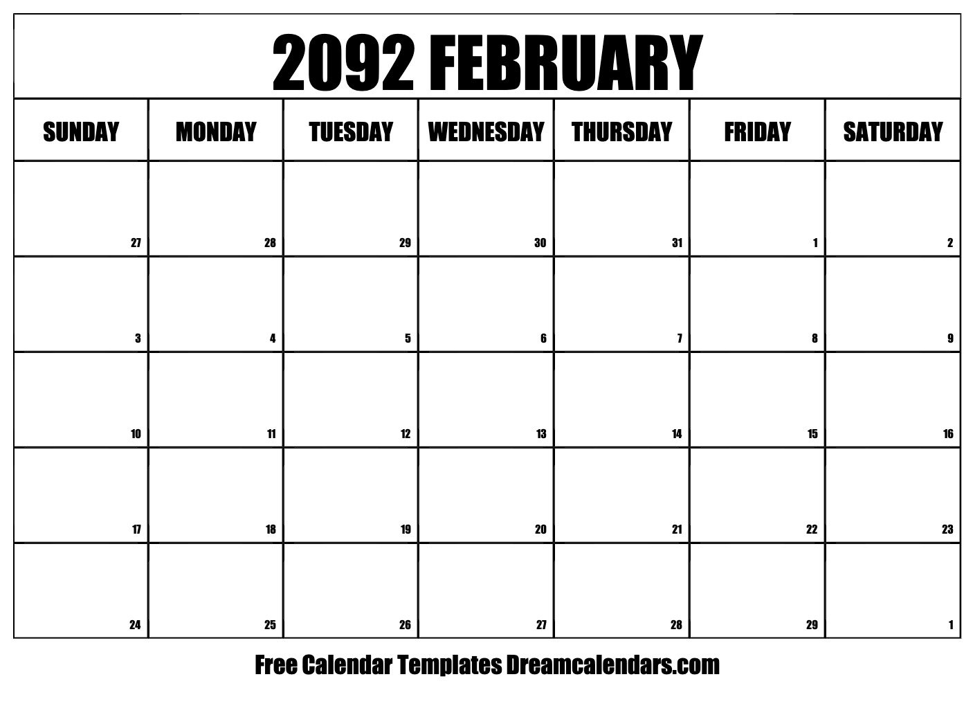 February 2092 Calendar | Free Blank Printable Templates Make Of Copy Of Blank Monthly Calendar 8 1/2 By 11