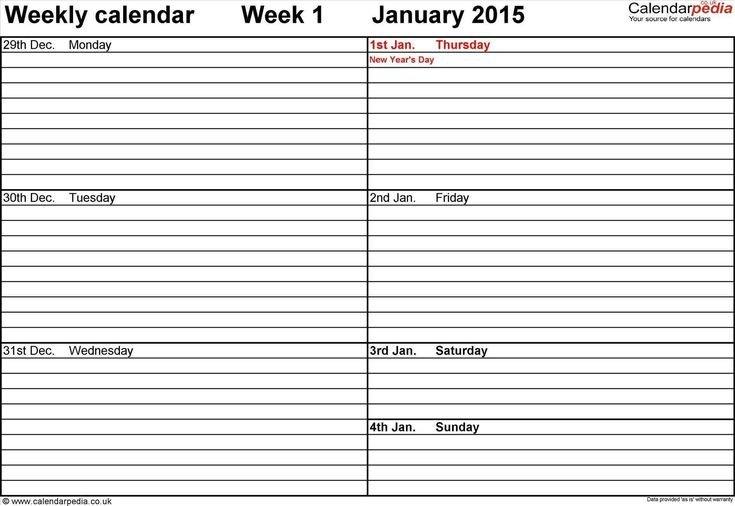 Fillable 1 Week Calendar In 2020 | Weekly Calendar Free Fillable Weekly Schedule