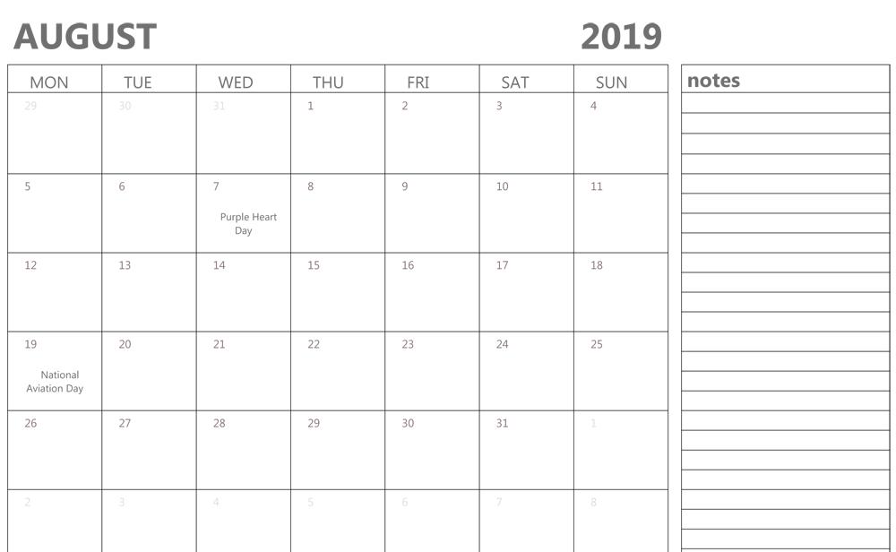 Fillable Calendar For August 2019 Printable Blank Template Fillable Birthday Calendar Template Excel