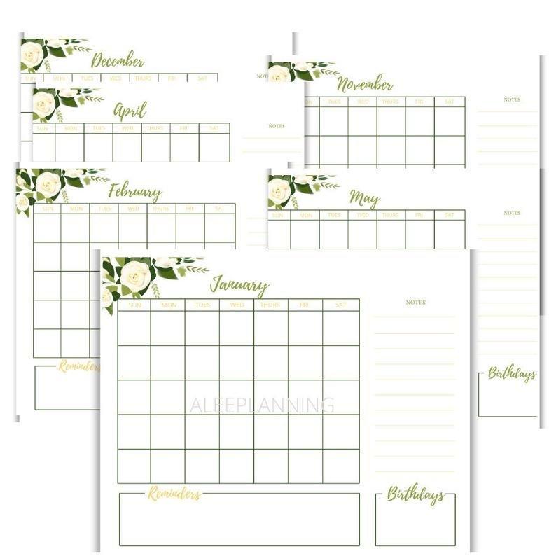 Floral Greenery 12 Monthly Calendar Printable | Etsy In 12 Month Birthday Calendar Free Printable