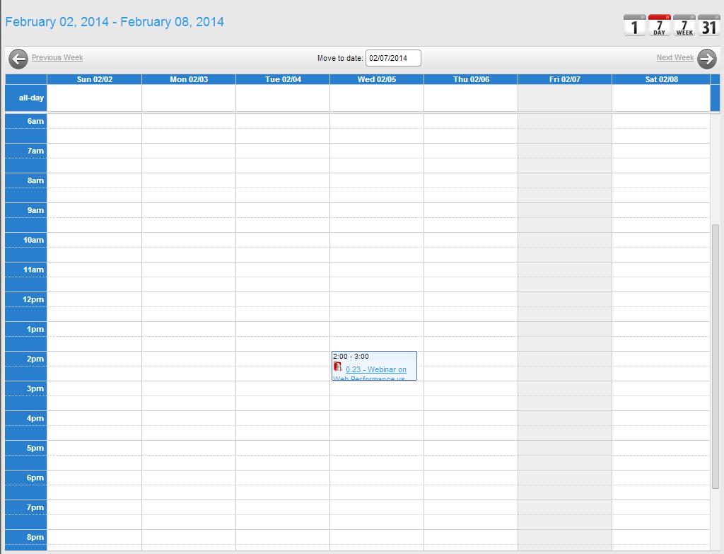 Form Type - Calendar [Workxpress] One Week Calendar To Type In