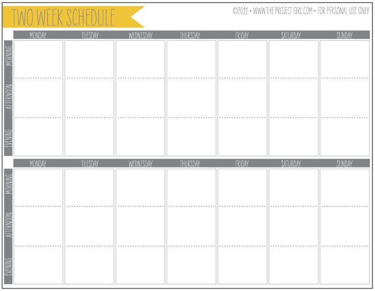 Free 2 Week Schedule Download | Jenallyson - The Project Printable Two Week Calendar Pages Free