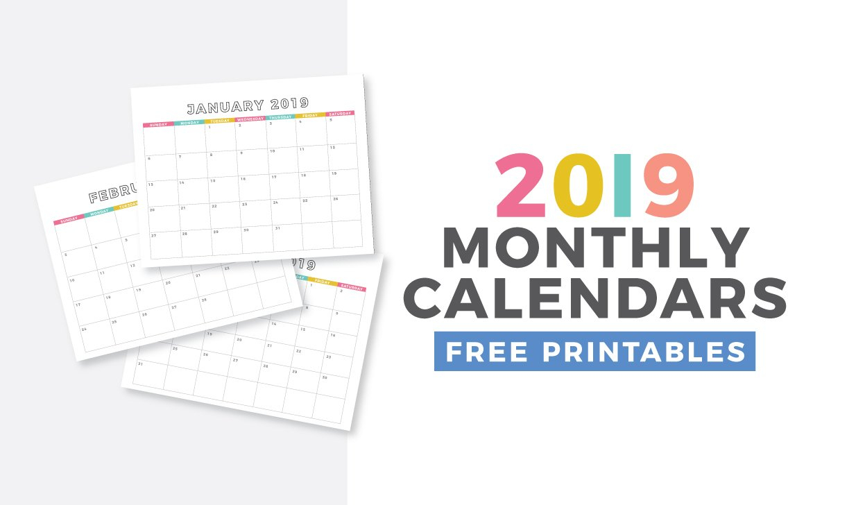 Free 2019 Monthly Calendar Printable - Design Eat Repeat Monthly Calendar On 8 X 11 Sheet