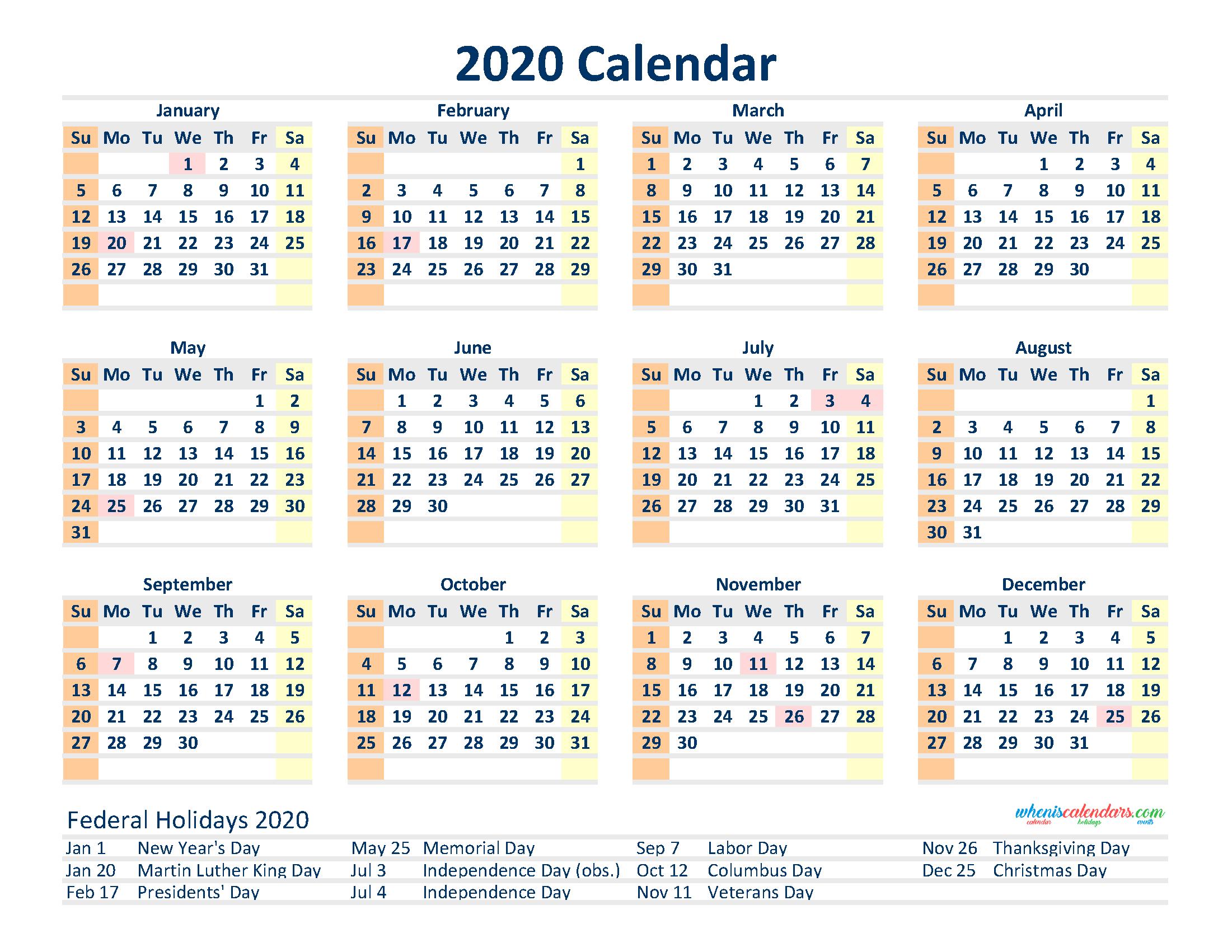Free 2020 12 Month Calendar Printable Pdf, Excel, Image Printable And Editable 12 Month Calendars