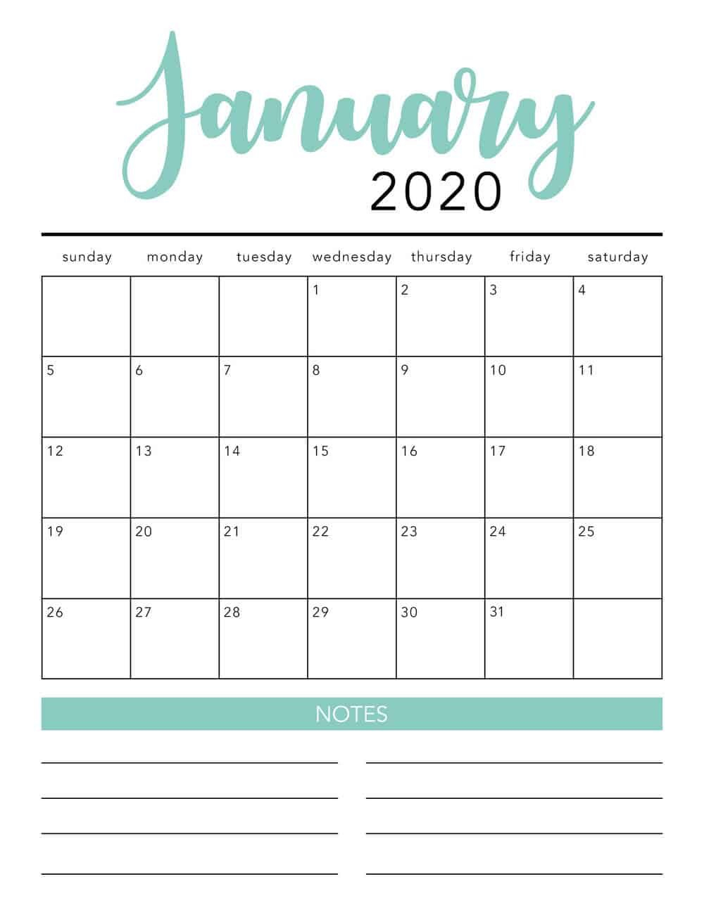 Free 2020 Printable Calendar Template (2 Colors!) - I 8X5 Monthly Calendar Print Outs