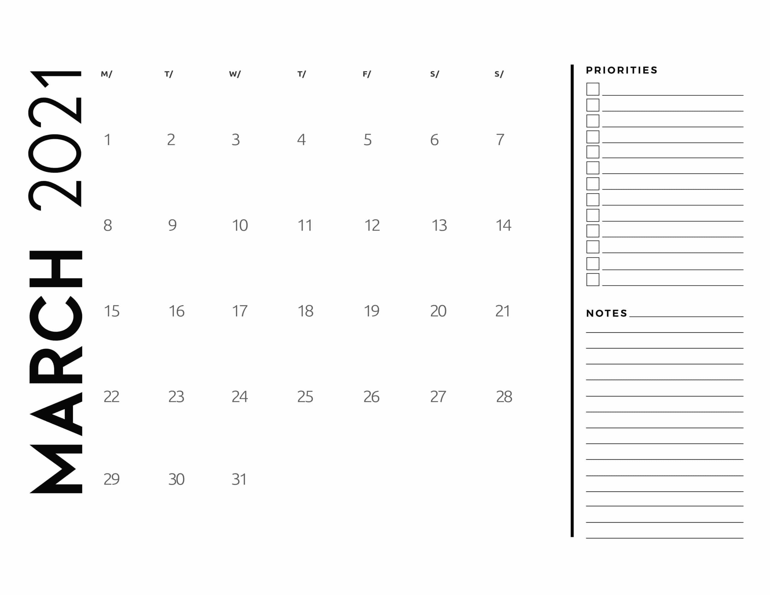 Free 2021 Calendar Priorities And Notes - World Of Printables Free Printable Calendar With Notes