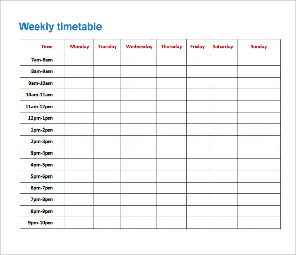 Free 8+ Sample Timetables In Pdf | Excel Monday Friday Schedule Download