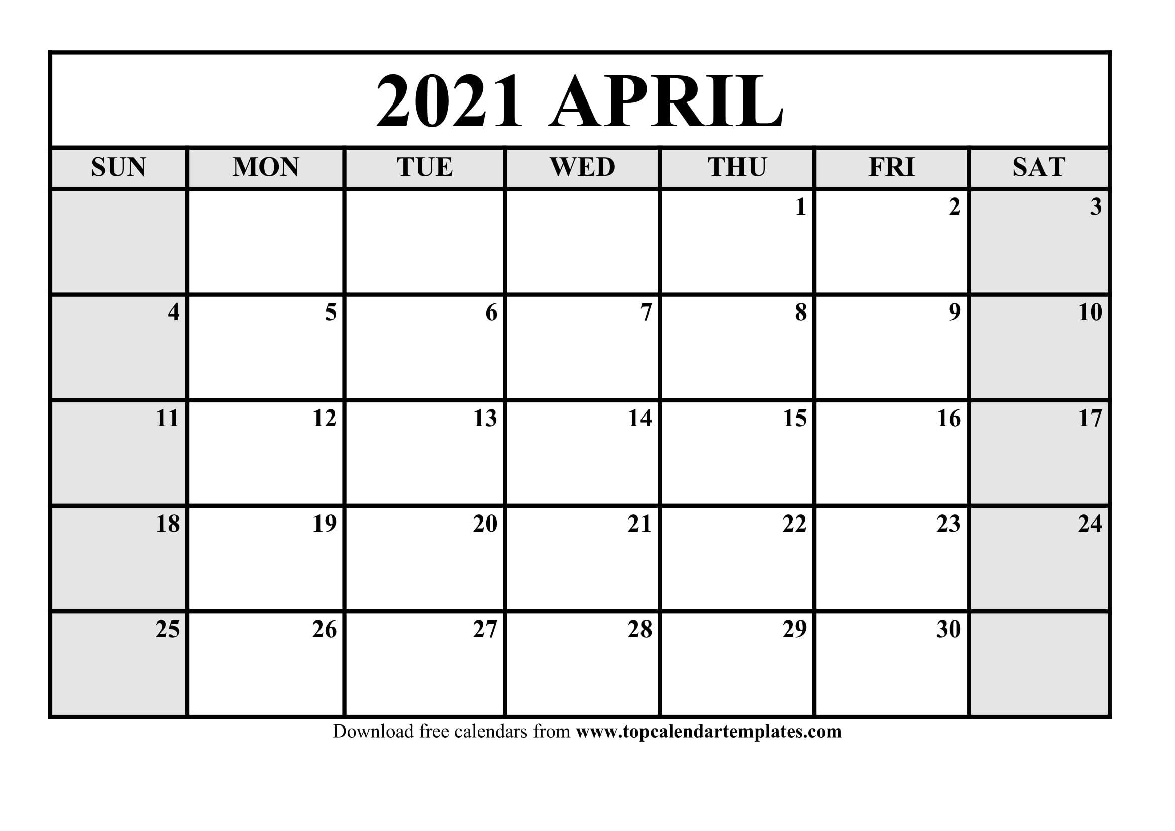 Free April 2021 Calendar Printable - Monthly Template Online Calander I Can Edit