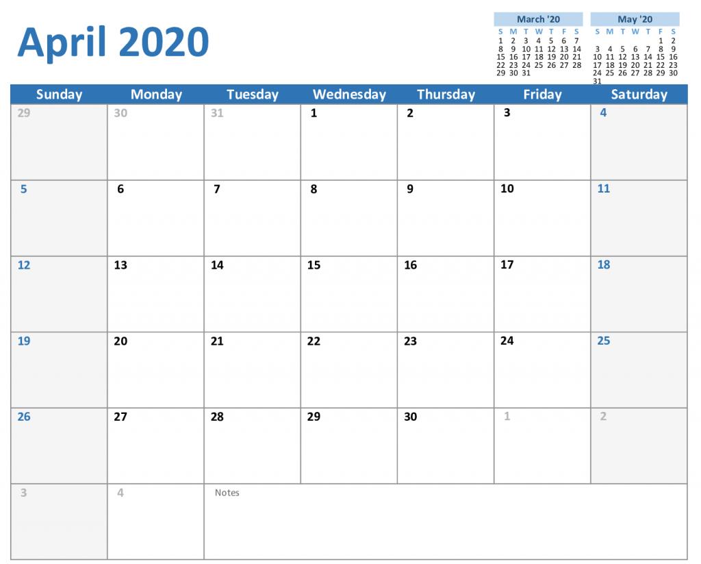 Free April Calendar 2020 Printable Editable In Pdf, Word 5 Ay Free Calendar